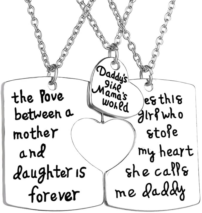 OULII Daddy's Girl Momma's World 3 Piece Keychain Pendant Necklace Set Gift for Daughter Daddy Mommy Little Girl Family Jewelry Necklace Set for Family