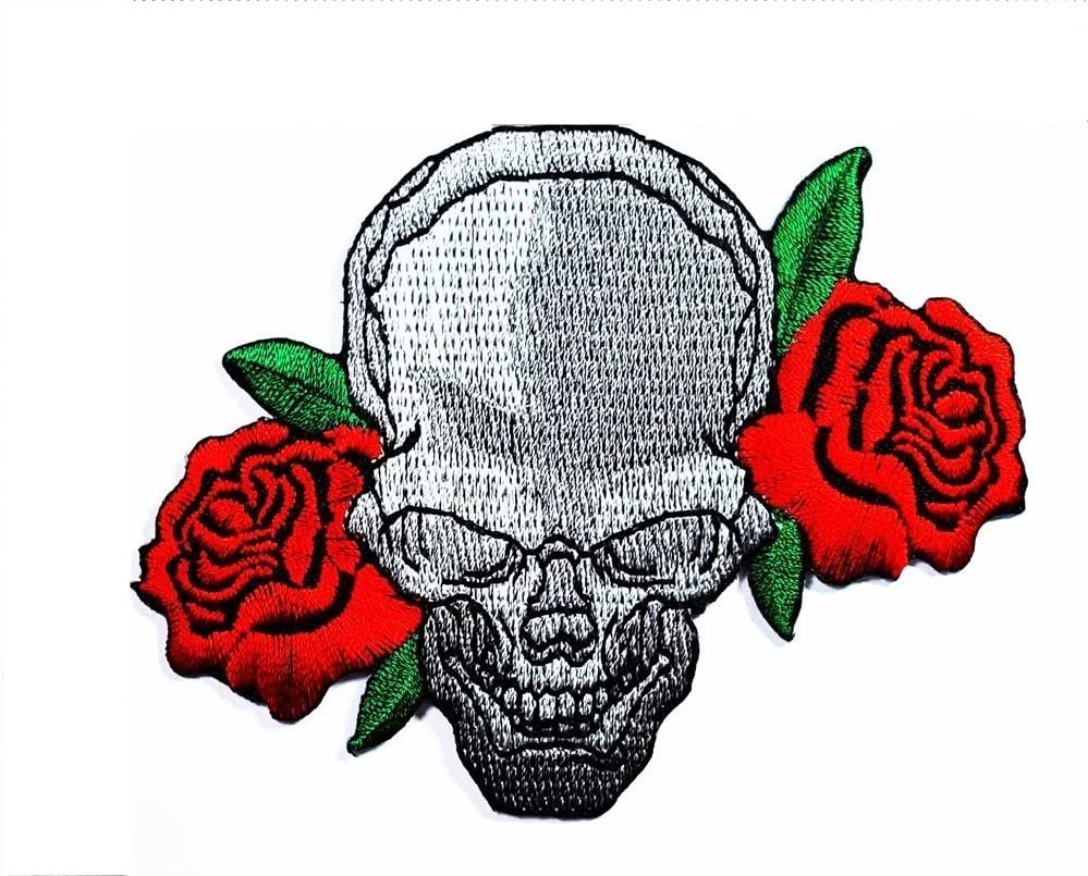 HHO RED ROSE SKULL Biker Patch Embroidered DIY Patches, Cute Applique Sew Iron on Kids Craft Patch for Bags Jackets Jeans Clothes