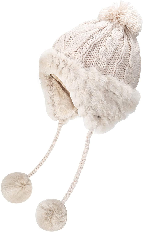 ZLYC Women Fashion Winter Warm Rabbit Fur Knit Bobble Beanie Cap Hat with Earflaps