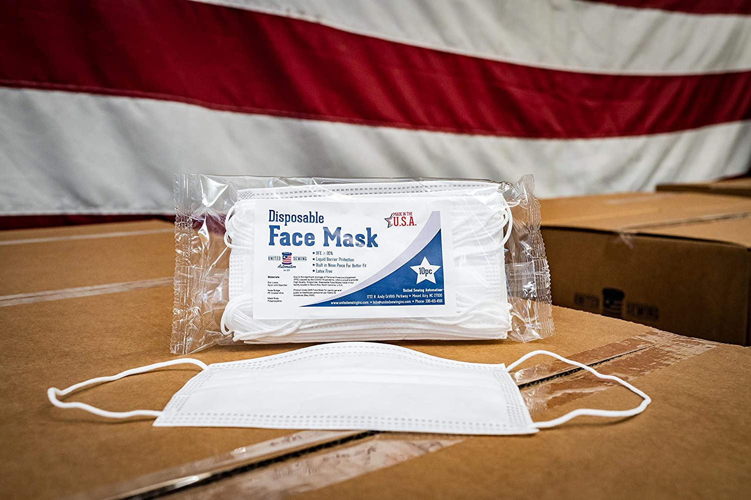 MADE IN USA - Disposable Face Masks - 3-ply - 10ct - Adjustable Fit