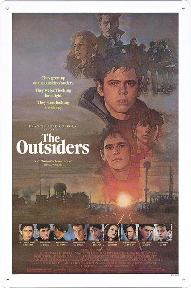 The Outsiders Movie Poster Home Theater Decor Metal Tin Sign Wall Art