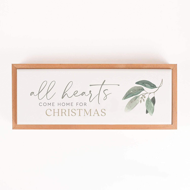 P. Graham Dunn All Hearts Come Home Mistletoe 12.85 x 5 Pine Wood Holiday Framed Art Sign