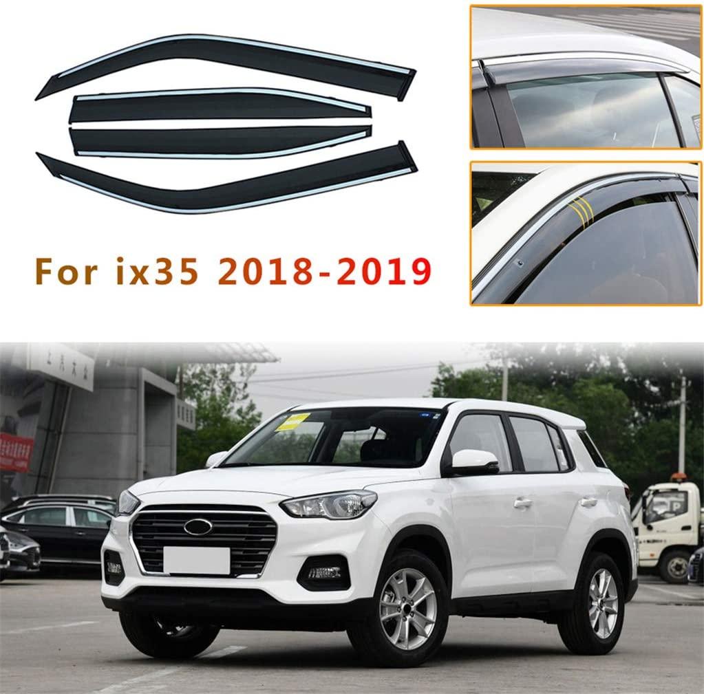 for Hyundai IX35 2018 4PCS Smoke Sun Rain Visor Deflector Guard Wind Deflectors Car Styling Front Rear Shade Window