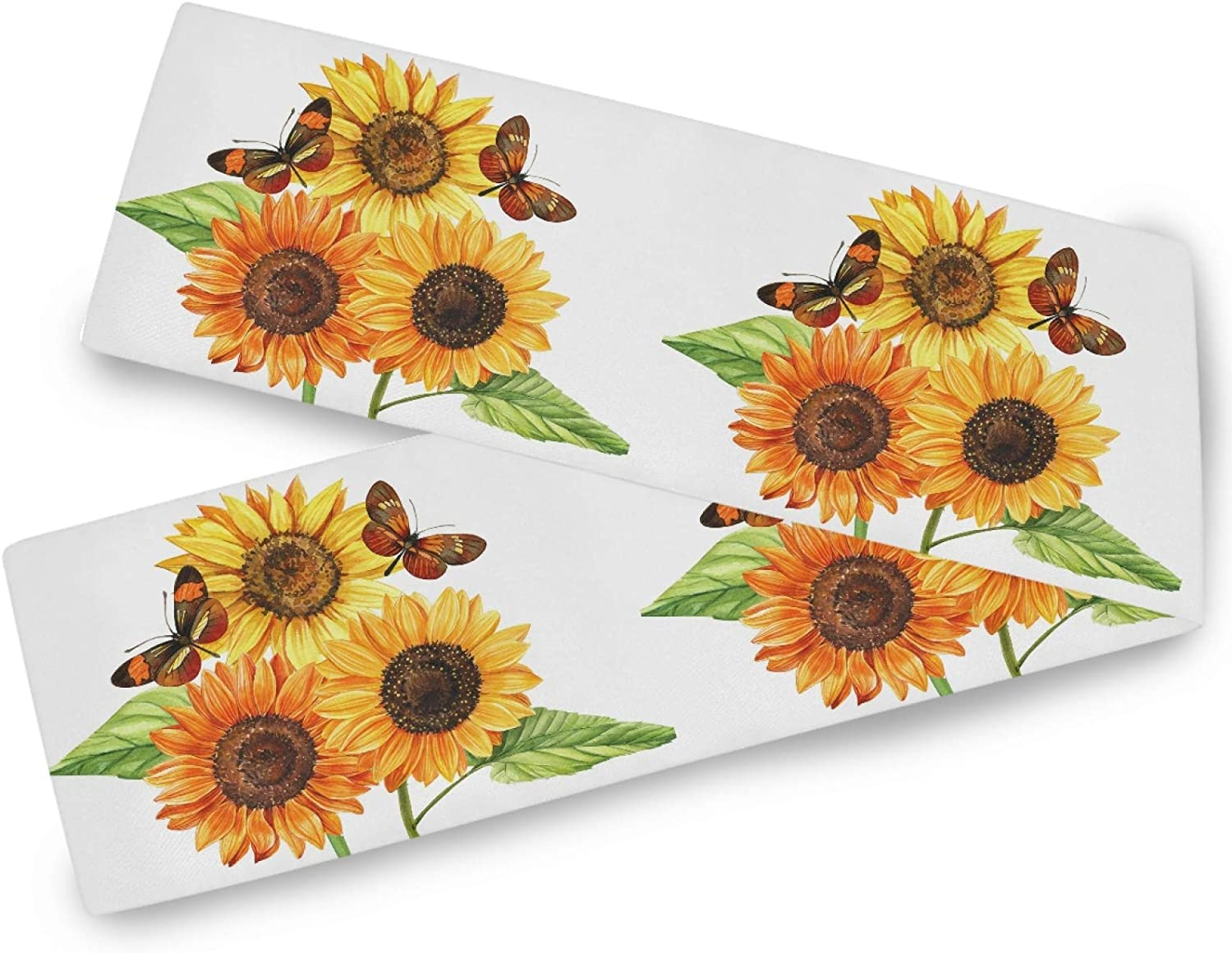Oarencol Butterfly Sunflower Table Runner Tropical Flroals Animal Double Sided 13x70 inch Polyester Table Cloth