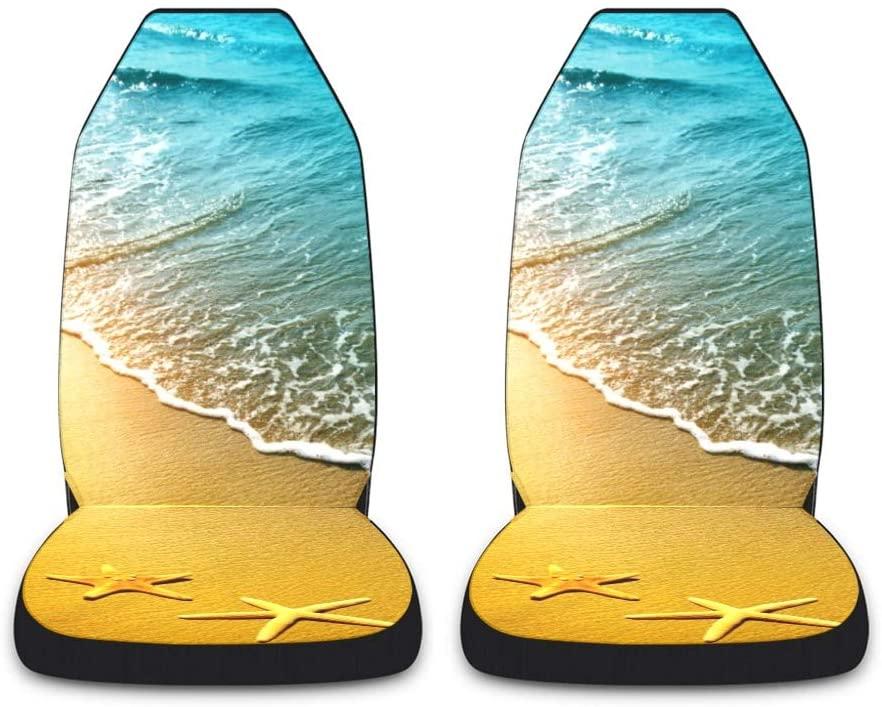 CUXWEOT Starfish Ocean Beach Car Seat Covers for Front Set of 2 Vehicle Seat Protector Car Pet Mat Fit Most Car,Truck,SUV,Van