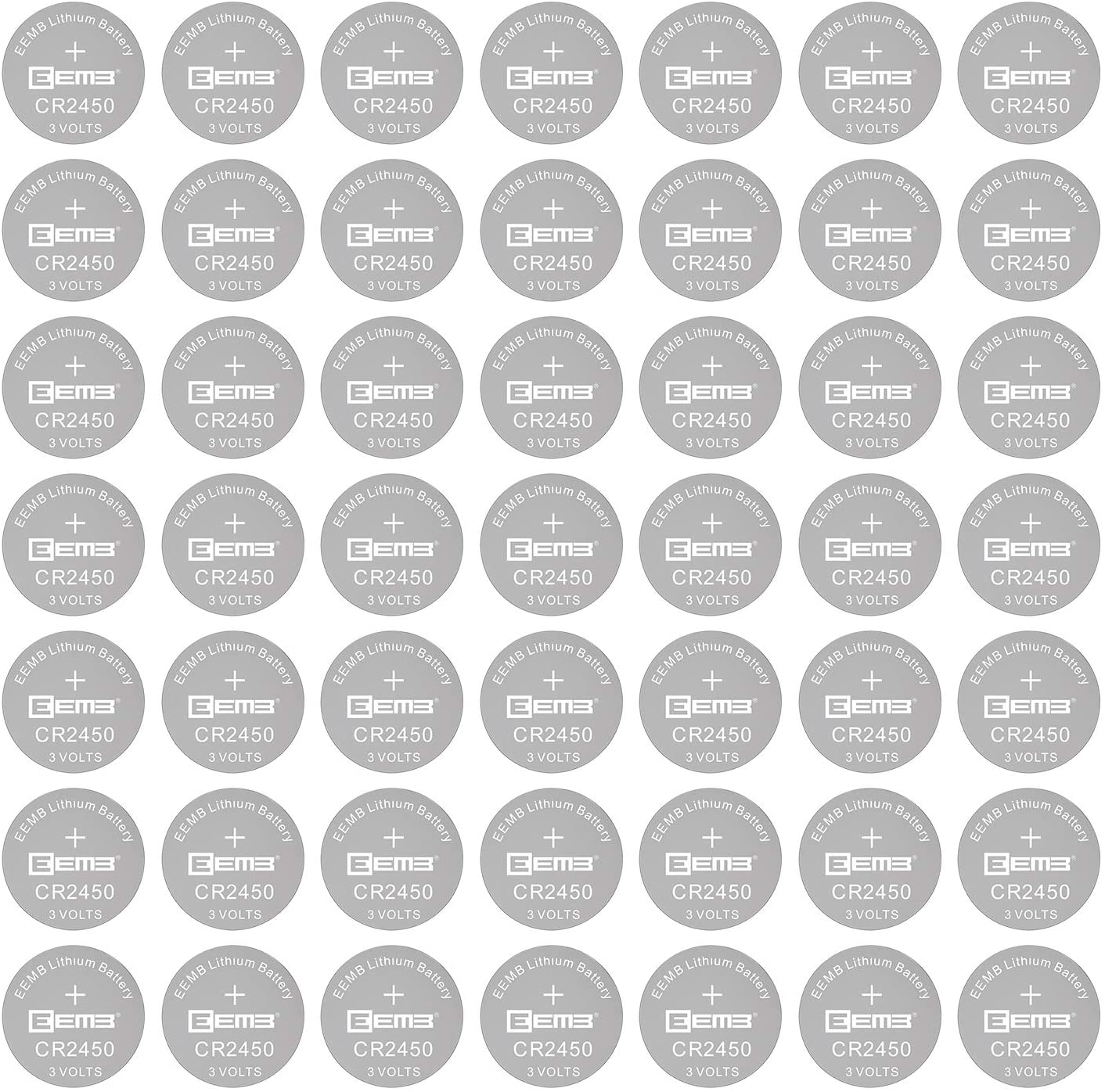 100PCS EEMB CR2450 Lithium 3V Button Coin Cell Battery with Trusted Quality 550mAh Non-Rechargeable UL Certified