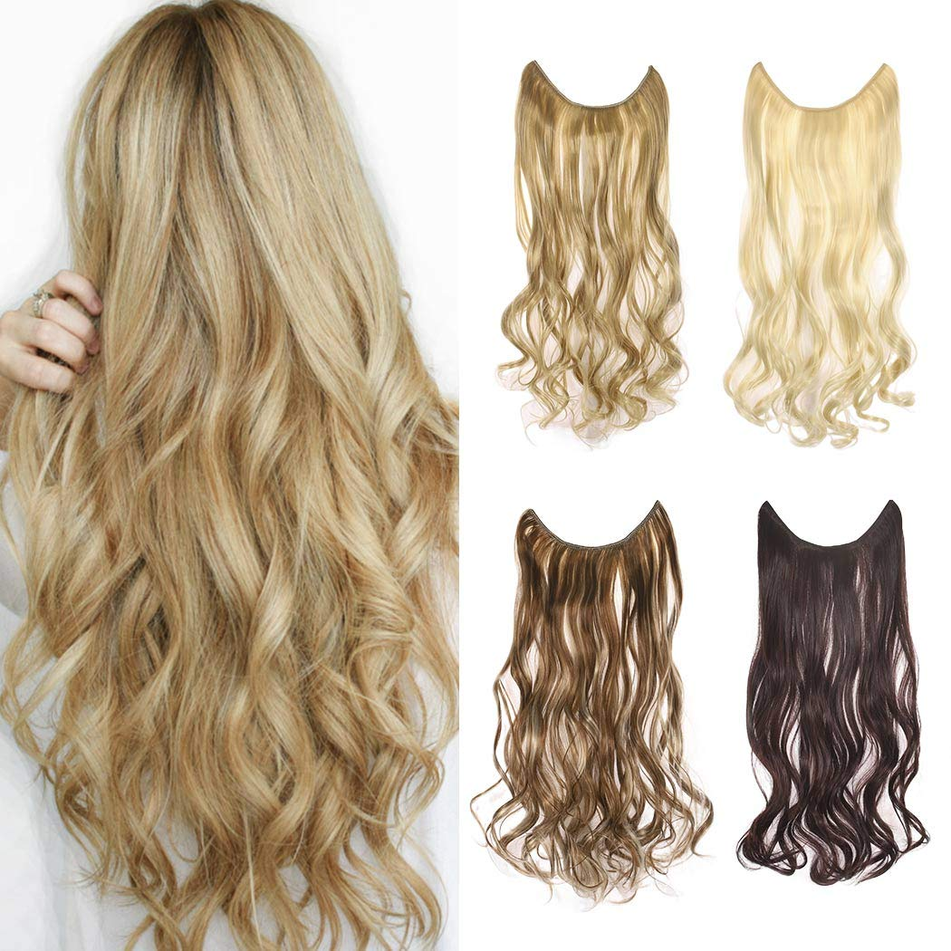 Long Hair Extension Halo Secret Flip in Natural Synthetic Hair Pieces Hairpiece Hidden Wire Crown Headband Heat Friendly Fiber for Women(Beach Blonde)