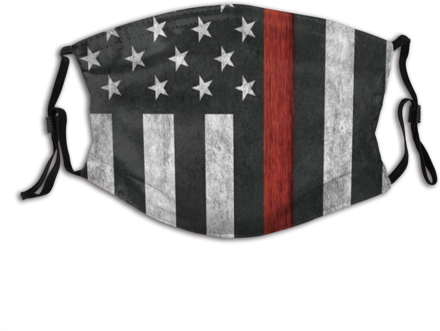 American Thin Red Line Flag Face Mask With Filter Pocket Washable Reusable Face Bandanas Balaclava With 2 Pcs Filters