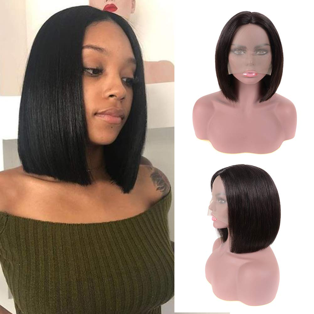 NOTICEME Short Bob Lace Front Wigs Middle Part Brazilian Remy Human Hair Bob Wig with Baby Hair Glueless Natural Hairline (10inch, Natural Black)