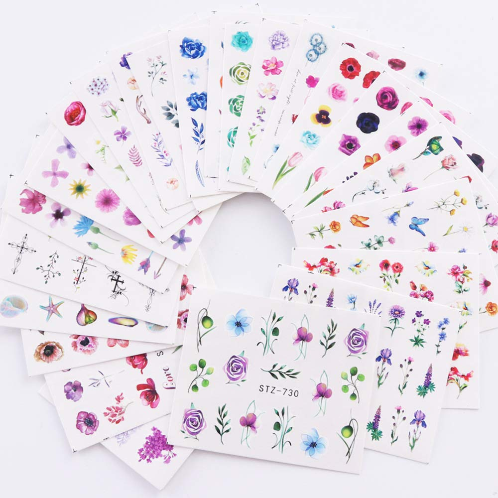 Nail Decals for Women Fingernail Decorations Nail Art Accessories Nail Stickers with Assorted Patterns Water Transfer Blossom Flower Stickers Set Manicure Charms Tip Decor 24 Sheets