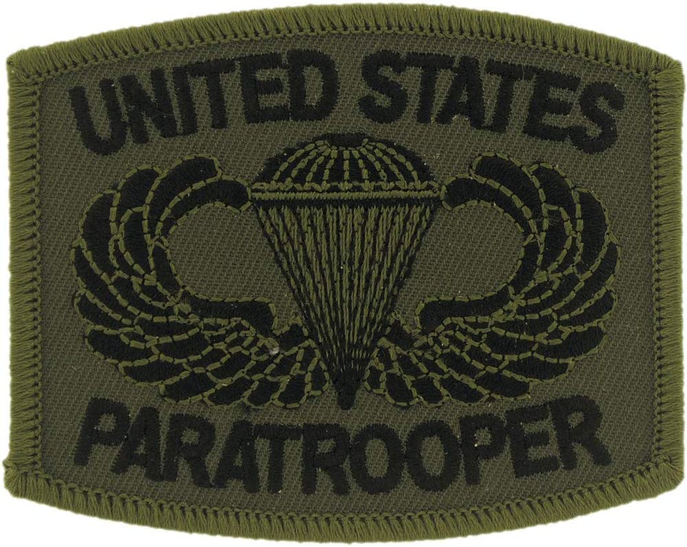 United States Army Airborne A/B Paratrooper Patch, Subdued Woodland/Green, with Iron-On Adhesive
