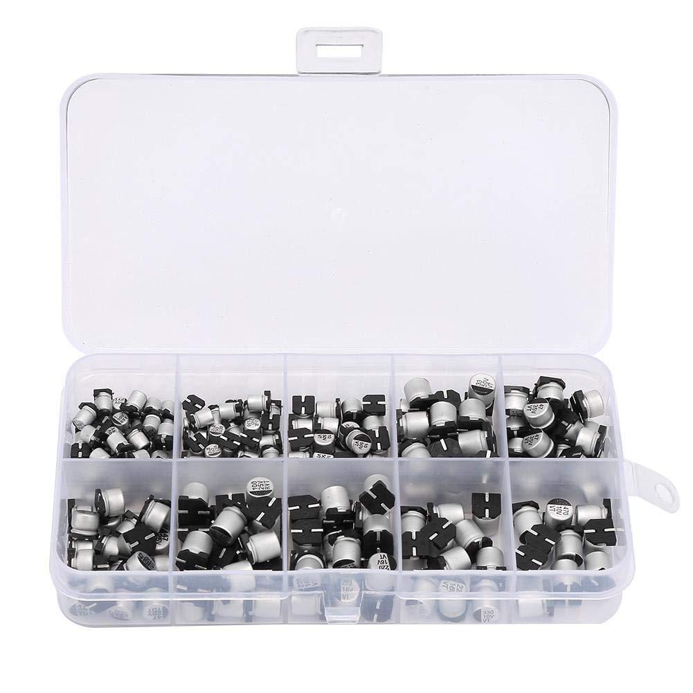 200PCS SMD Assorted Electrolytic Capacitor Assortment Box Kit Range10V ~ 50V 1uF ~ 470uF with Clear Plastic Box