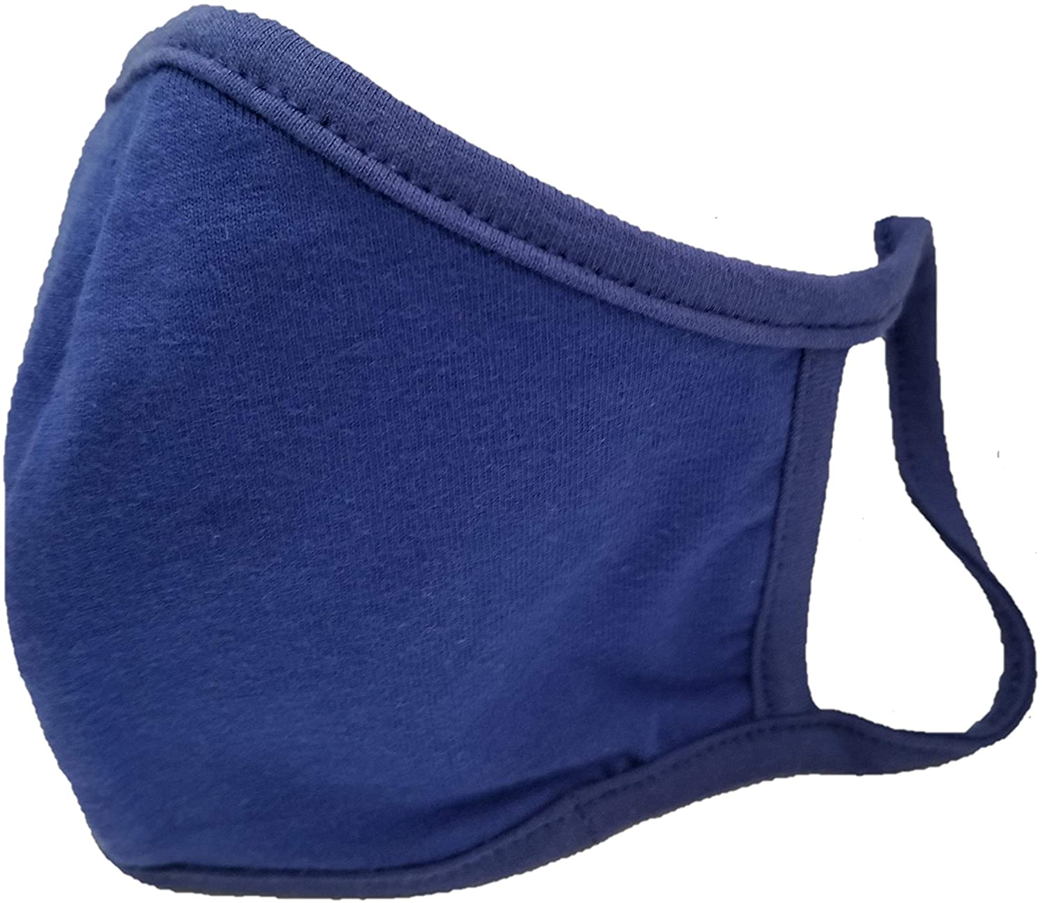 (MADE IN USA) Washable & Reusable Cotton Facial Mask - Face Mask & Coverings(Blue-5 Mask)