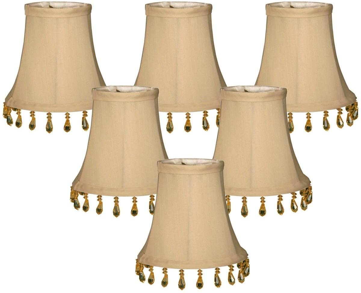 Beige Beaded Bell Chandelier Lamp Shade 3