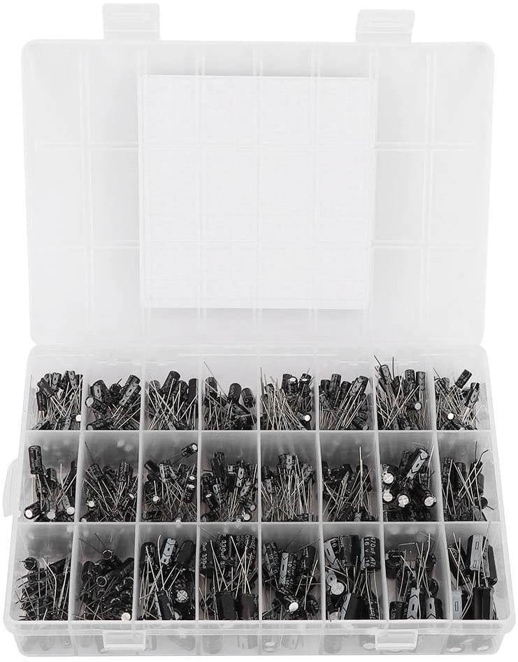 Xinwoer Electrolytic Capacitor,24 Models 0.1uF-1000uF 0.47uF 50V Capacitor Assortment Kit 630Pcs with Storage Box