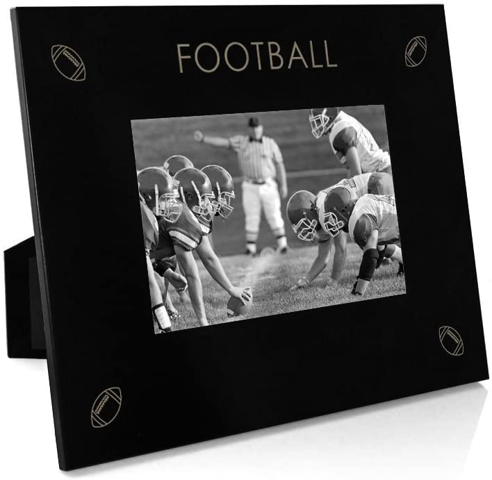 Four Corners Frame | Engraved Football Picture Frame by ChalkTalk Sports | Horizontal 4X6