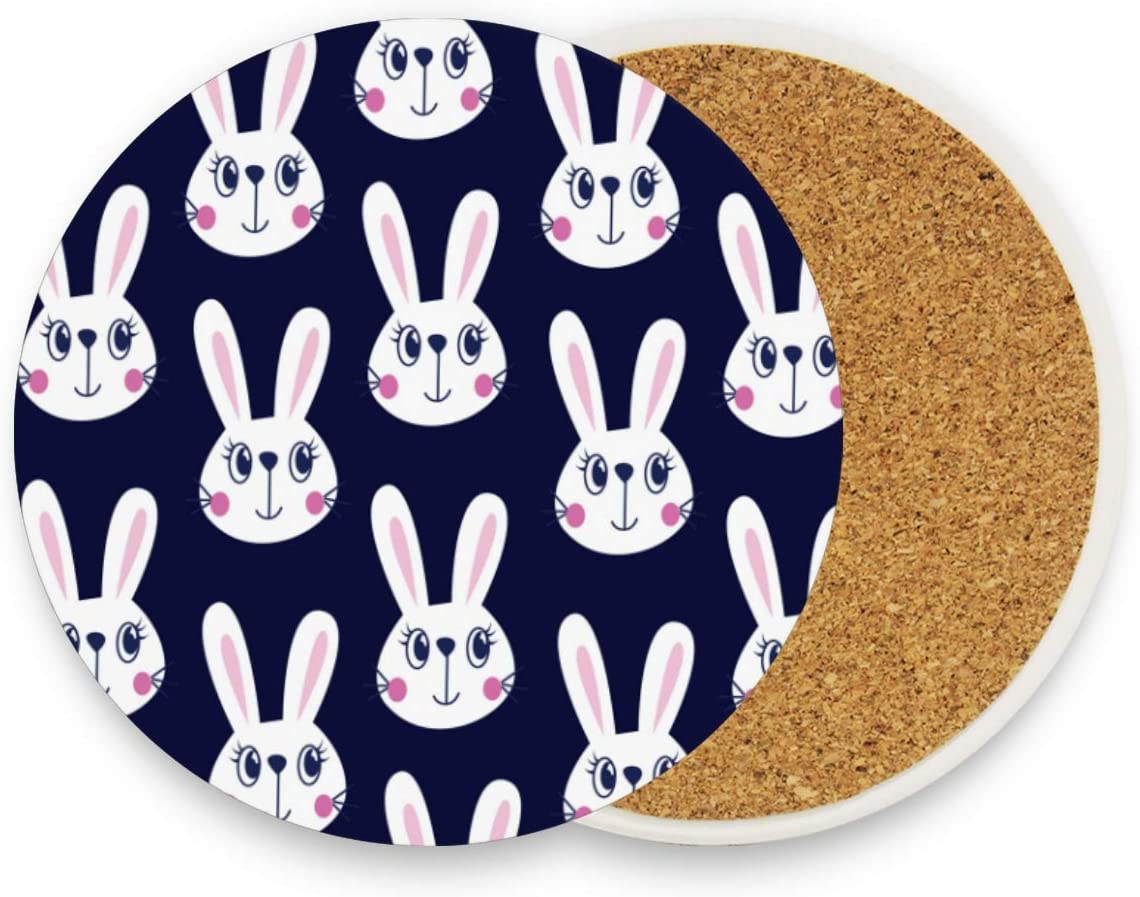 visesunny Cute Rabbit Print Drink Coaster Moisture Absorbing Stone Coasters with Cork Base for Tabletop Protection Insulated Cup Mats with Non-Slip Bottom, 2 Pieces