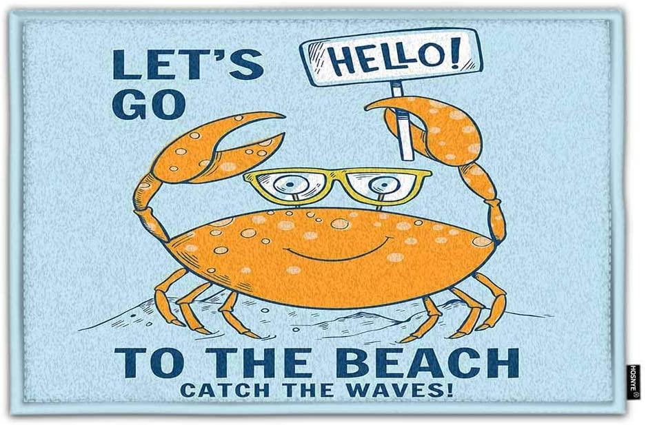 HOSNYE Cute Crab Non Slip Door Mat Hello Lets Go to The Beach Catch The Waves Summer Theme Home Bathroom Bath Shower Bedroom Mat Toilet Floor Door Mat