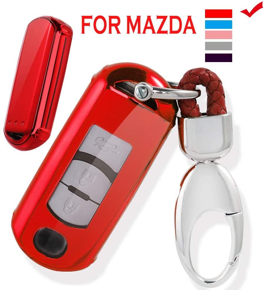 Vorda Mazda Key Fob Cover,Fit for 2/3/4 Bottons Remote Key Mazda 2 3 5 6 8 CX3 CX5 CX7 CX9 MX5 Key Fob,Smart Car Key Soft TPU Case Shell Protector Key Fob with Alloy Keychain (red)