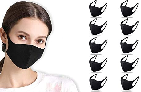 10 Pack 3-Layer Reusable Pure Cotton Black Face Mask Breathable Washable Comfortable