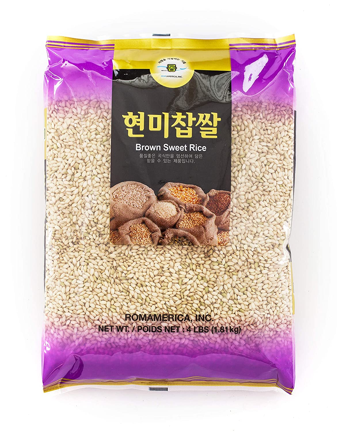 ROM AMERICA Brown Sweet Rice Sticky Rice Glutinous Rice 현미찹쌀 (4 Pounds)