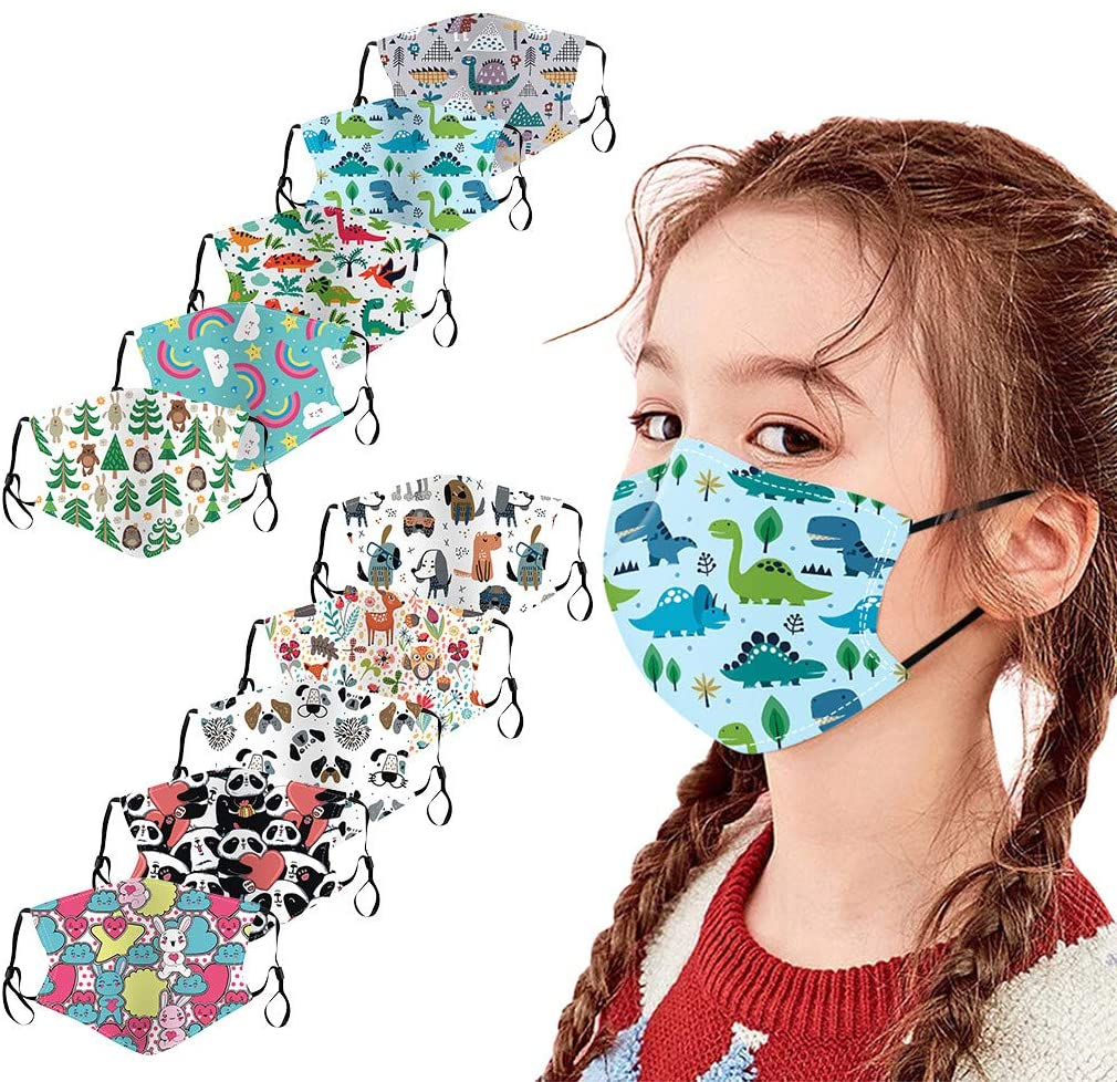 [US Stock] 10pcs Kids Face Mask Reusable for Protection with Cute Print Cloth Face Masks Washable Breathable by MASZONE