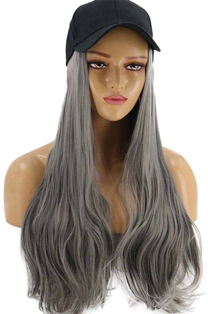 NarutoSak Wig with Hat,Women Long Wave Wig Hairpiece Synthetic Hair Extension with Baseball Hat Cap Grey