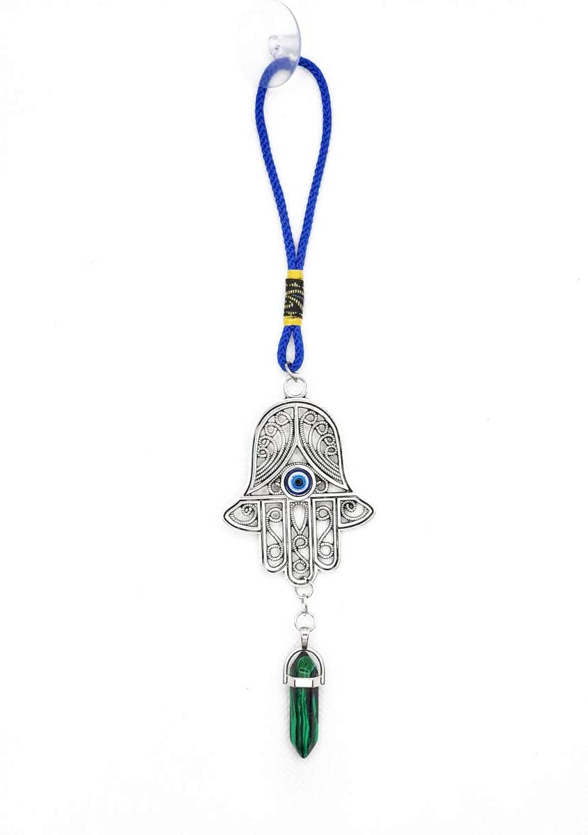 """LUCKBOOSTIUM – Ornate Silver Hamsa Hand with Malachite Gemstone, Blue Evil Eye in Center of Amulet, Hanging Ornament Charm for Protection, Blessing, Car, Home, Great Gift, Blue, Silver, 1.8"""" X 9"""""""