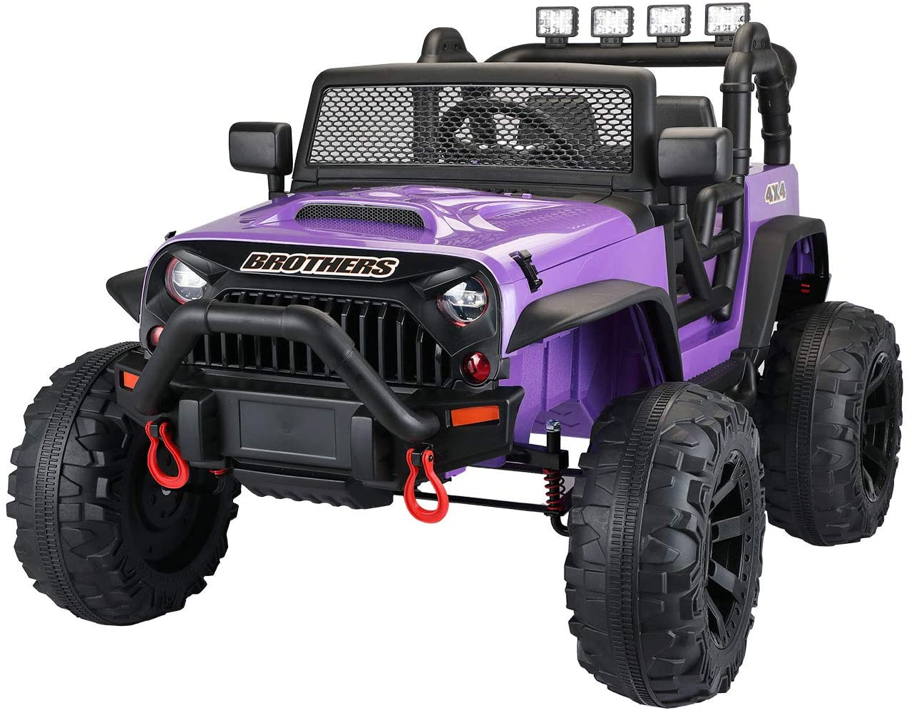 TOBBI 12V Kids Ride On Truck Toys with Remote Control Electric Vehicles with 3 Speeds for Boys Girls in Purple