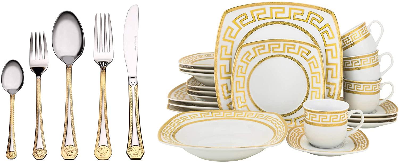 Euro Porcelain 40-piece Dining Flatware Set w/Greek Key Medusa Pattern 24K Gold Ornament, HQ Dining Service for 4 - Square