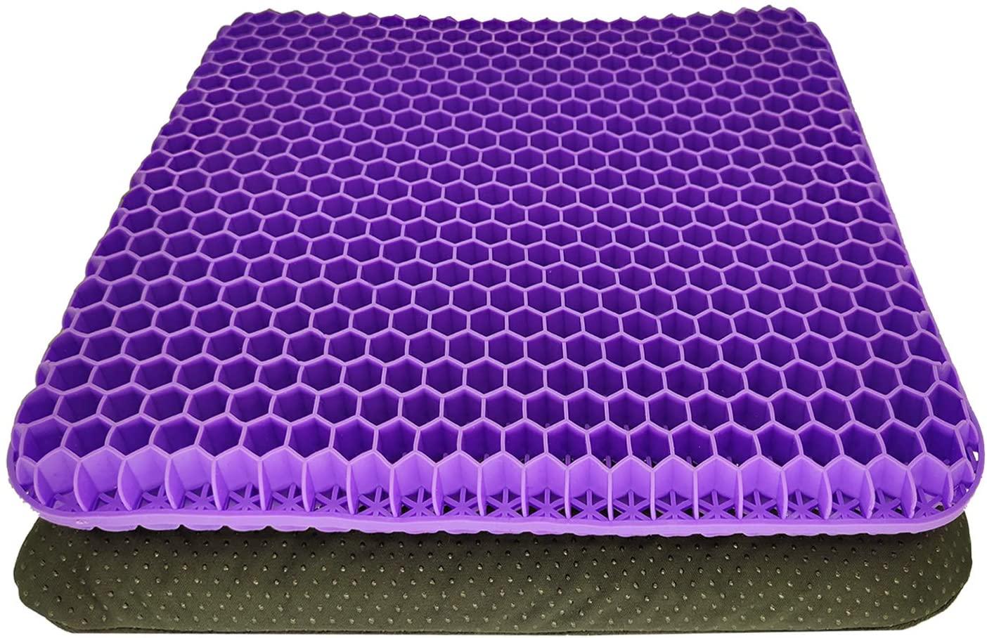 Gel seat Cushion,Enhanced Double-Layer Non-Slip Cushion, Purple seat Cushion, Help in Relieving Back Pain & Sciatica Pain,Seat Cushion for The Car,Office,Wheelchair&Chair.Breathable,Durable,Portable