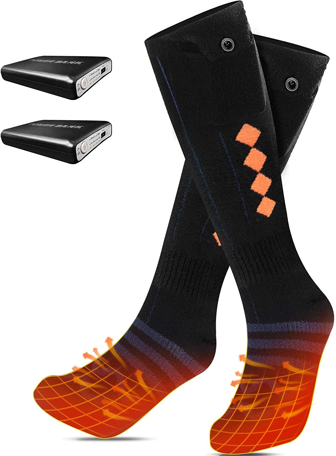 Heated Socks for Men Women Heat Up to 18 Hours, 5000mAh Rechargeable Electric Winter Thermal Socks for Skiing Hunting Hiking