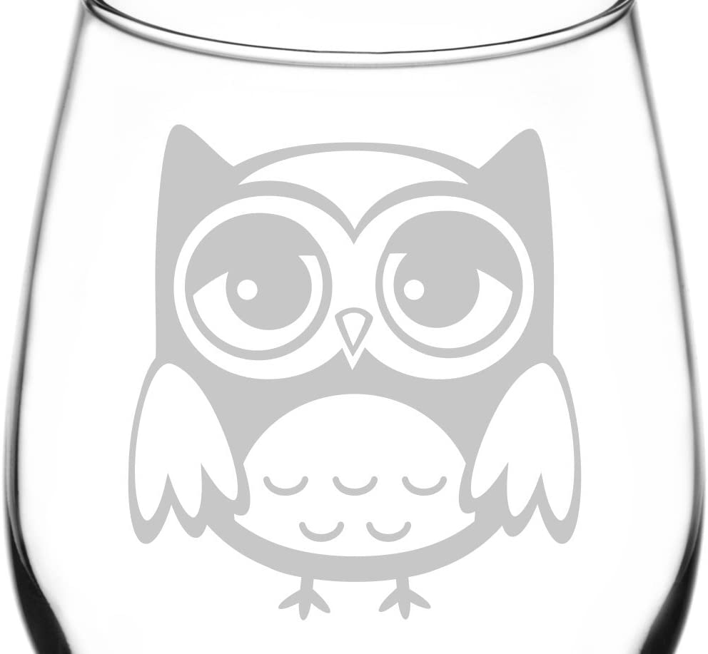 (Sad) Cute Cartoon Owl Facial Expression Inspired - Laser Engraved 12.75oz Libbey All-Purpose Wine Taster Glass