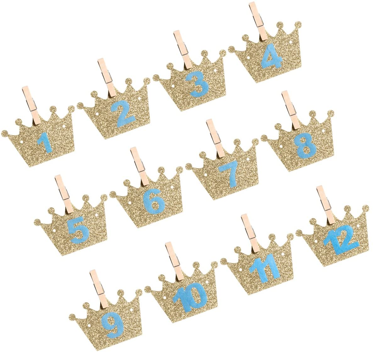 3M Baby's 1st Birthday Banners Glitter Crown and Number Photo Banner With Clips Hanging Decoration for First Birthday Party Decoration (Sky-blue)
