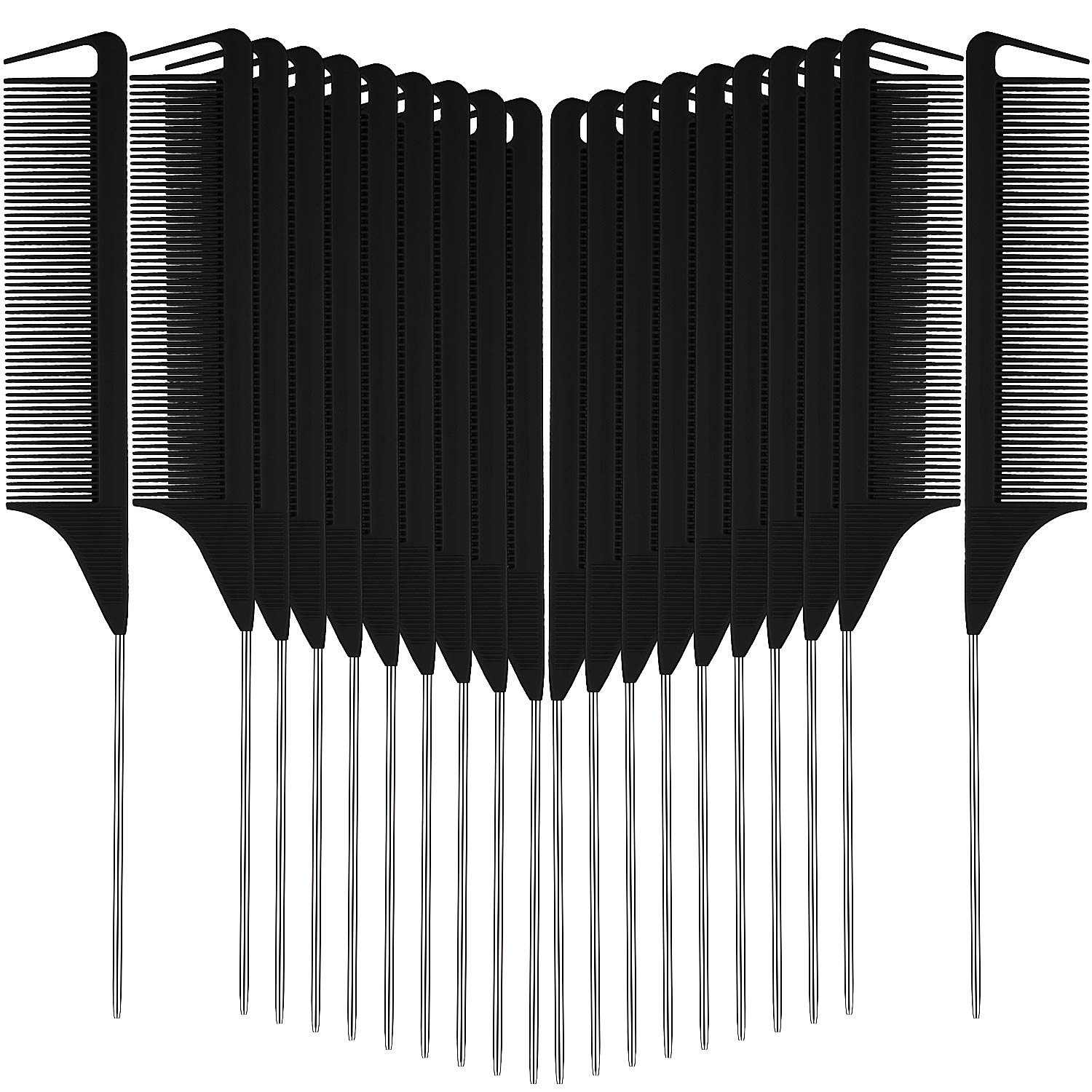 24 Pieces Parting Comb for Braids Hair Parting Comb Steel Pin Rat Tail Carbon Fiber Heat Resistant Teasing Combs for Braids Hair Styling Beauty Tools (Black)