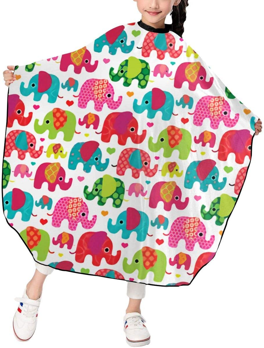 MJhair Cute Colorful Elephants Boys Girls Haircut Barber Cape for Hair Cutting Professional Home Salon Hairdressing Smock Cover