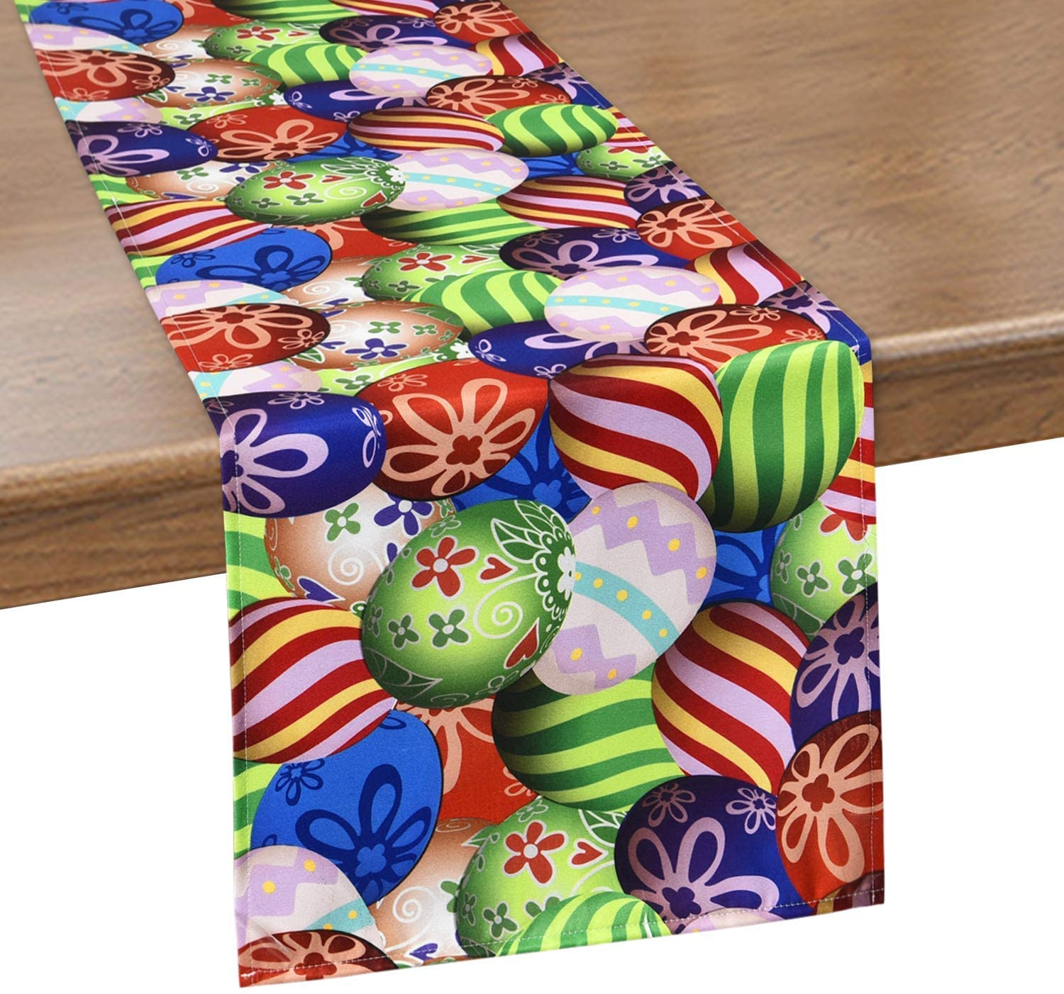 Smurfs Yingda Easter Colorful Egg Table Runner, Polyester Waterproof Table Runner for Spring Holiday, Catering Events, Indoor and Outdoor Parties 14 × 70 inches