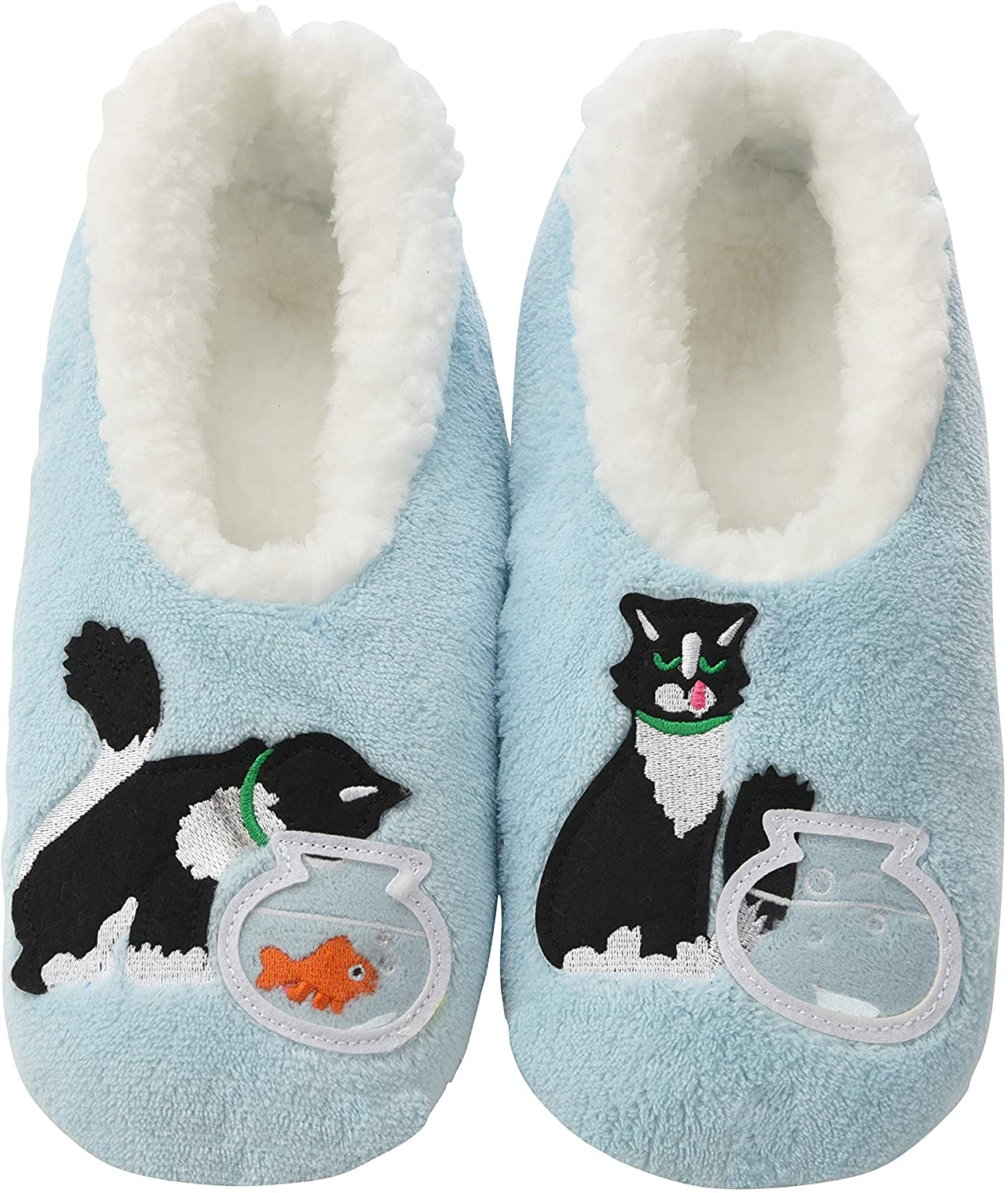Snoozies Pairables Womens Slippers - House Slippers - Blue Cat
