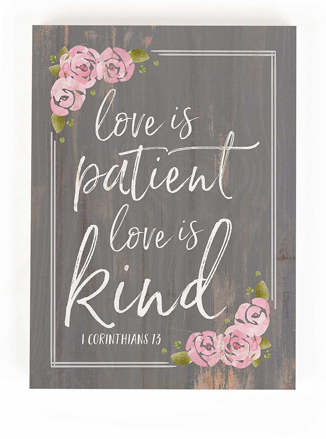 P. Graham Dunn Love is Patient Floral Pink 7.3 x 5.5 Pine Wood Word Block Sign