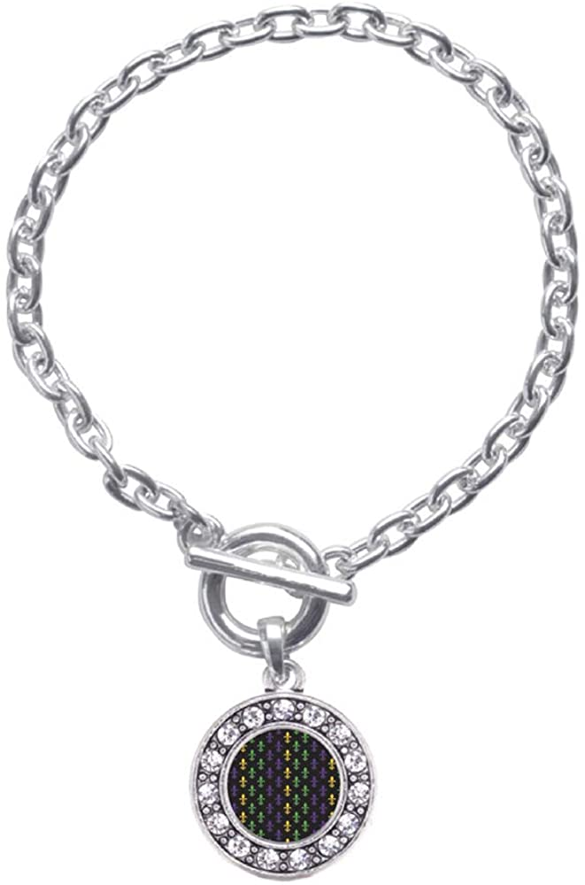 Inspired Silver - Silver Circle Charm Toggle Bracelet with Cubic Zirconia Jewelry