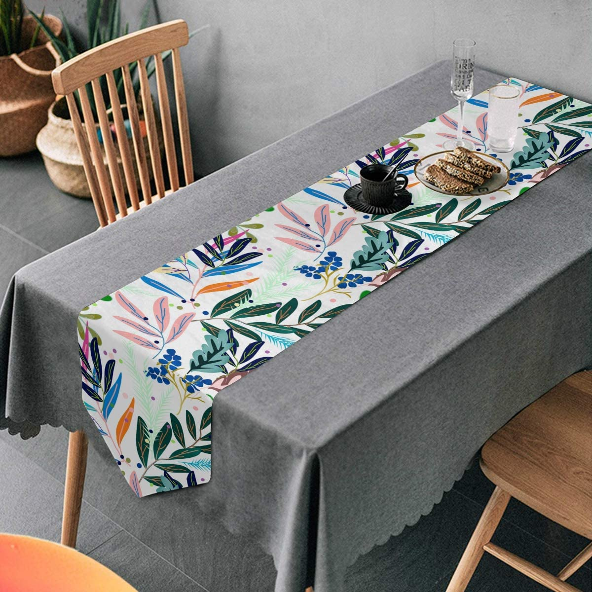 Aflyko Spring Leaves Table Runner Dining Table Decor 13