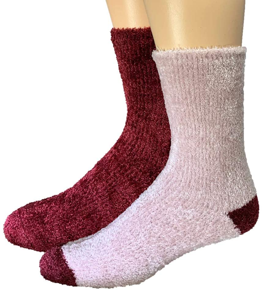 TRUEENERGY: All-Day Warmth Cozy Chenille Socks with Infrared Thread- Pain Relief & Circulation Help (Pink/Burgundy)