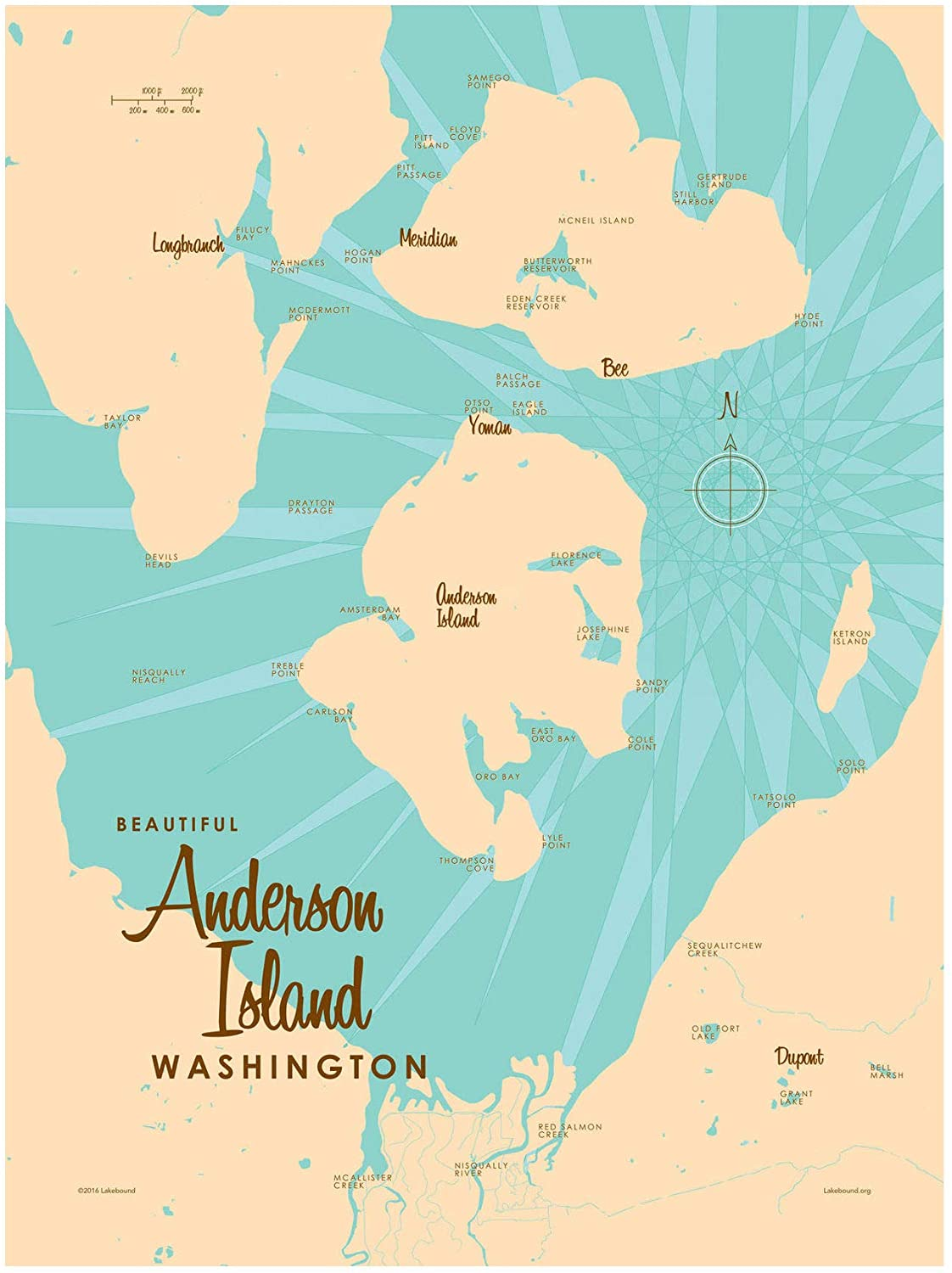 Anderson Island Washington Map Giclee Art Print Poster by Lakebound 9 x 12