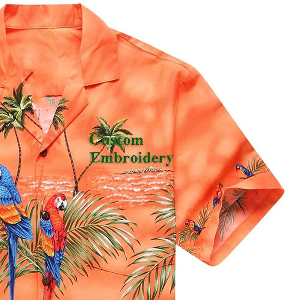 Made in Hawaii Men's Hawaiian Shirt Aloha Shirt Orange with Matching Front Parrots