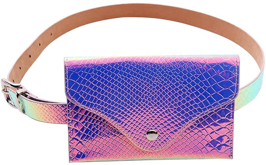 FENICAL Iridescent Fanny Pack Fashion Holograpic Glitter Wasit Bag Storage Belt Bag for Outdoor Beach Travel
