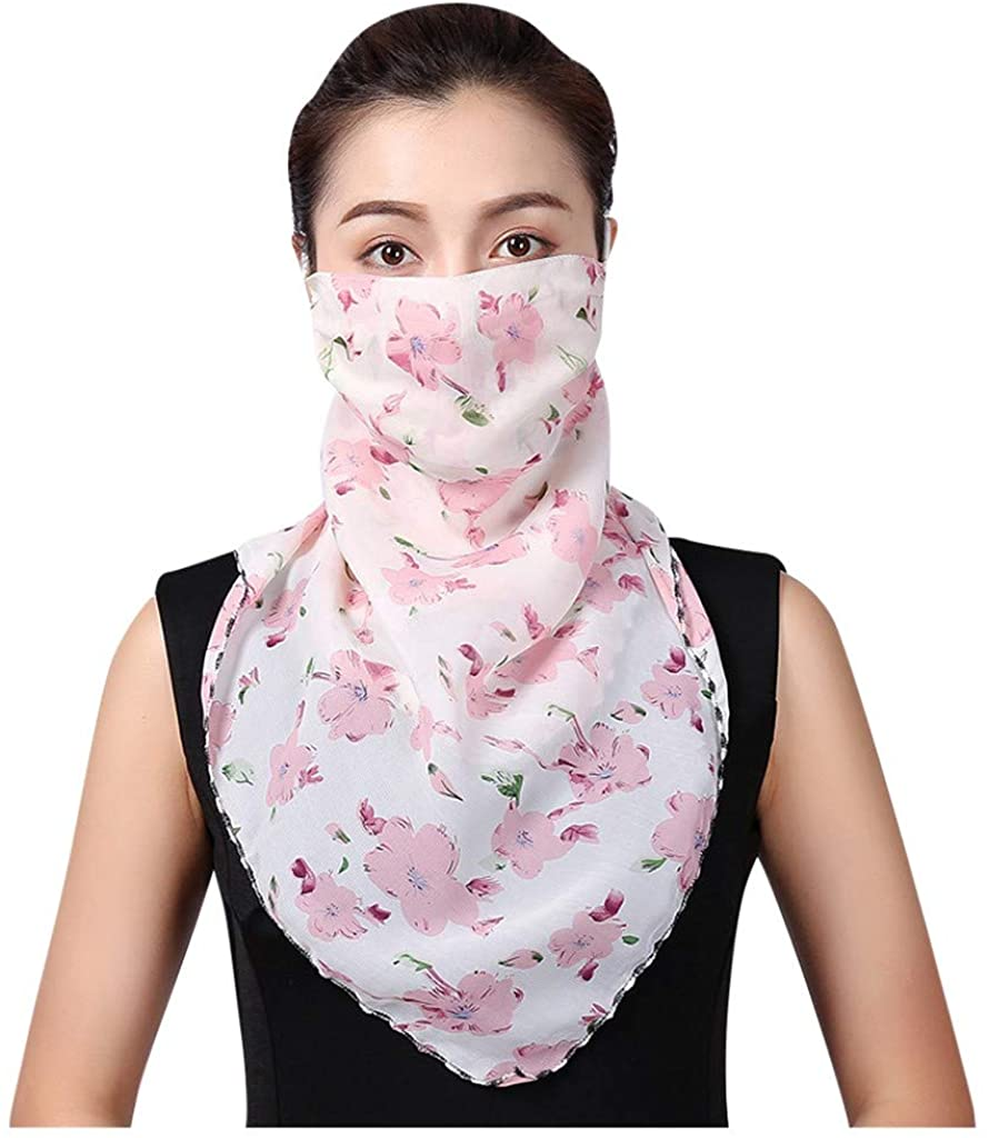 TOTAMALA Women's Sunscreen Face Cover Chiffon Scarf UV Protection Bandana Sun Dustproof Outdoor Cycling Neck Gaiter