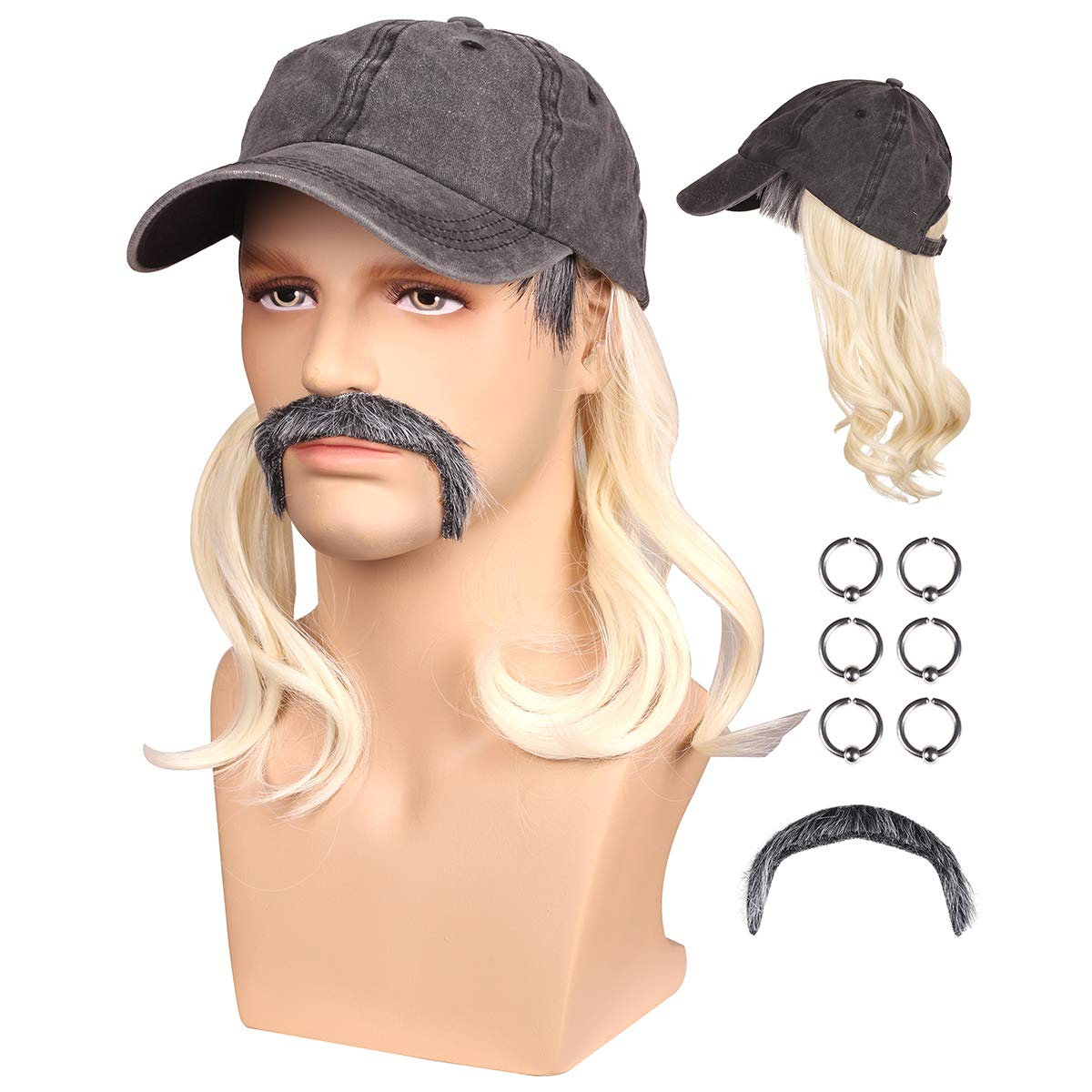 Black Hat Blonde Wig with Ear Clips and Mustache for Men