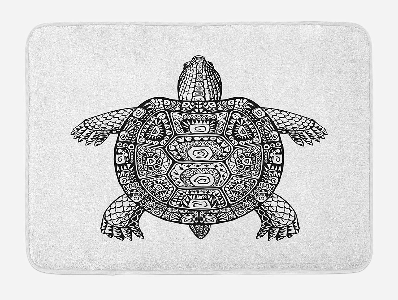 Ambesonne Turtle Bath Mat, Tribal Patterns on Turtle Illustration Monochrome Animal Themed Tortoise Print, Plush Bathroom Decor Mat with Non Slip Backing, 29.5