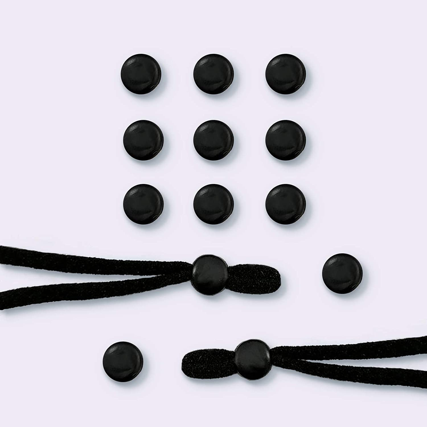Elastic Cord Lock Silicone Round Toggles for Drawstrings Elastic Cord Straps Adjuster Non Slip Stoppers 100PC (Black)
