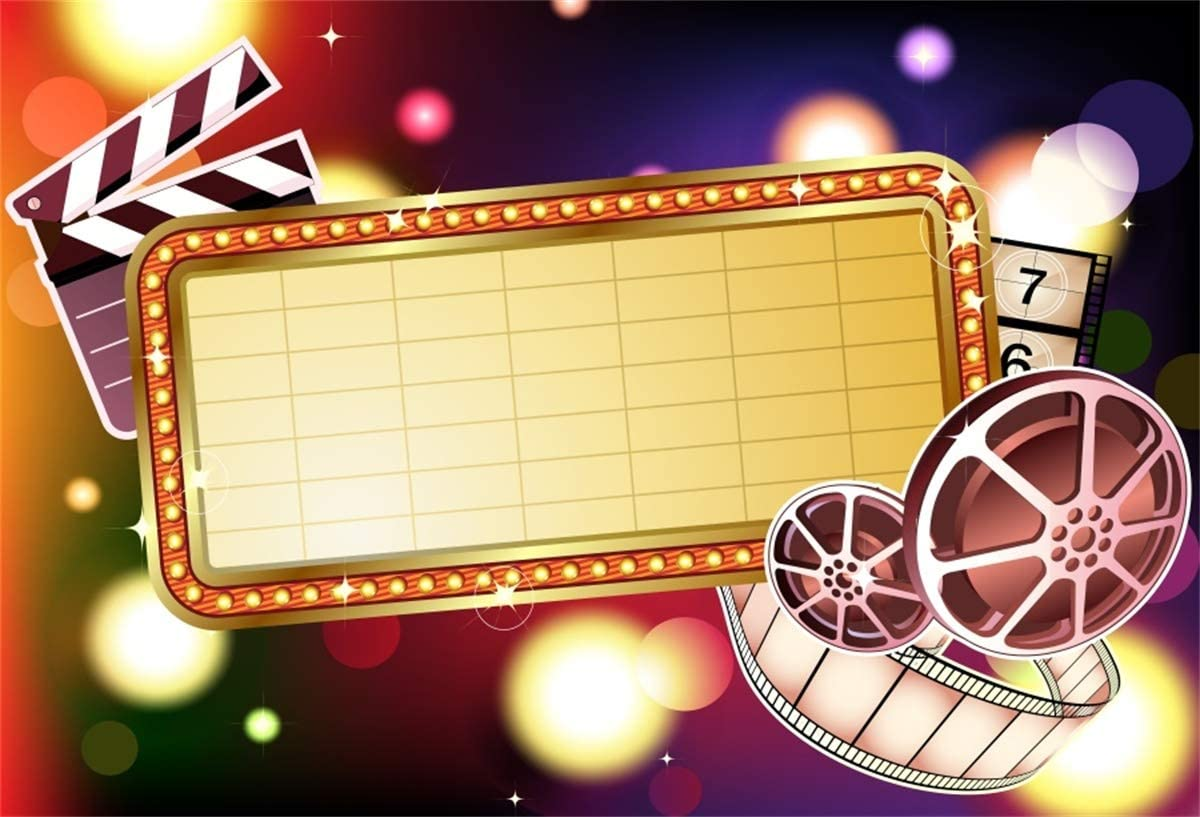 Yeele 8x6ft Hollywood Theme Backdrop Kids Movie Birthday Party Theater Photography Backgrounds Movie Star Birthday Event Awards Night Ceremony Banner Photoshoot Props Digital Wallpaper